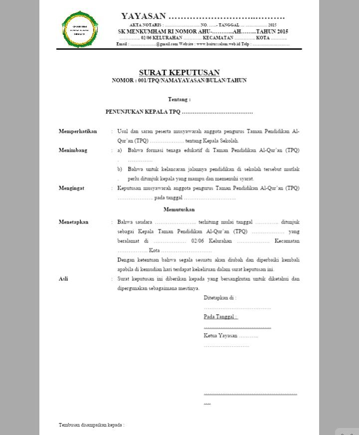Surat-Keputusan-Ketua-Yayasan-Tentang-Penunjukan-Kepala-Bendahara-MDT-TPQ