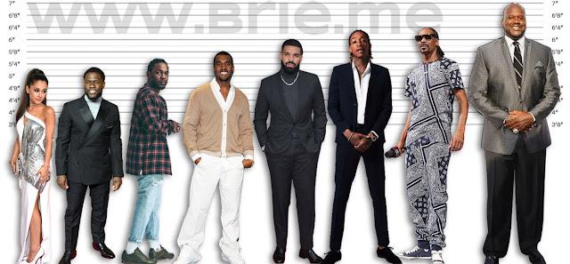 Ariana Grande, Kevin Hart, Kendrick Lamar, Kanye West, Drake, Wiz Khalifa, Snoop Dogg, and Shaquille O'Neal height comparison