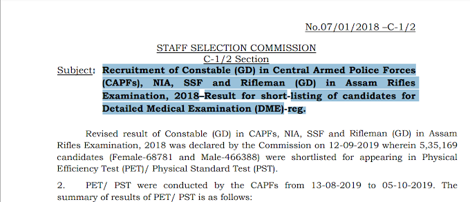 Recruitment of Constable (GD) in Central Armed Police Forces (CAPFs), NIA, SSF and Rifleman (GD) in Assam Rifles Examination, 2018–Result for short-listing of candidates for Detailed Medical Examination (DME)-reg.