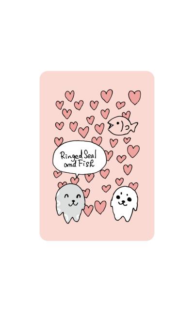 Ringed seal and fish Pink heart