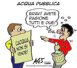 referendum, acqua, privatizzazioni, acqua pubblica, vino, vignetta, satira
