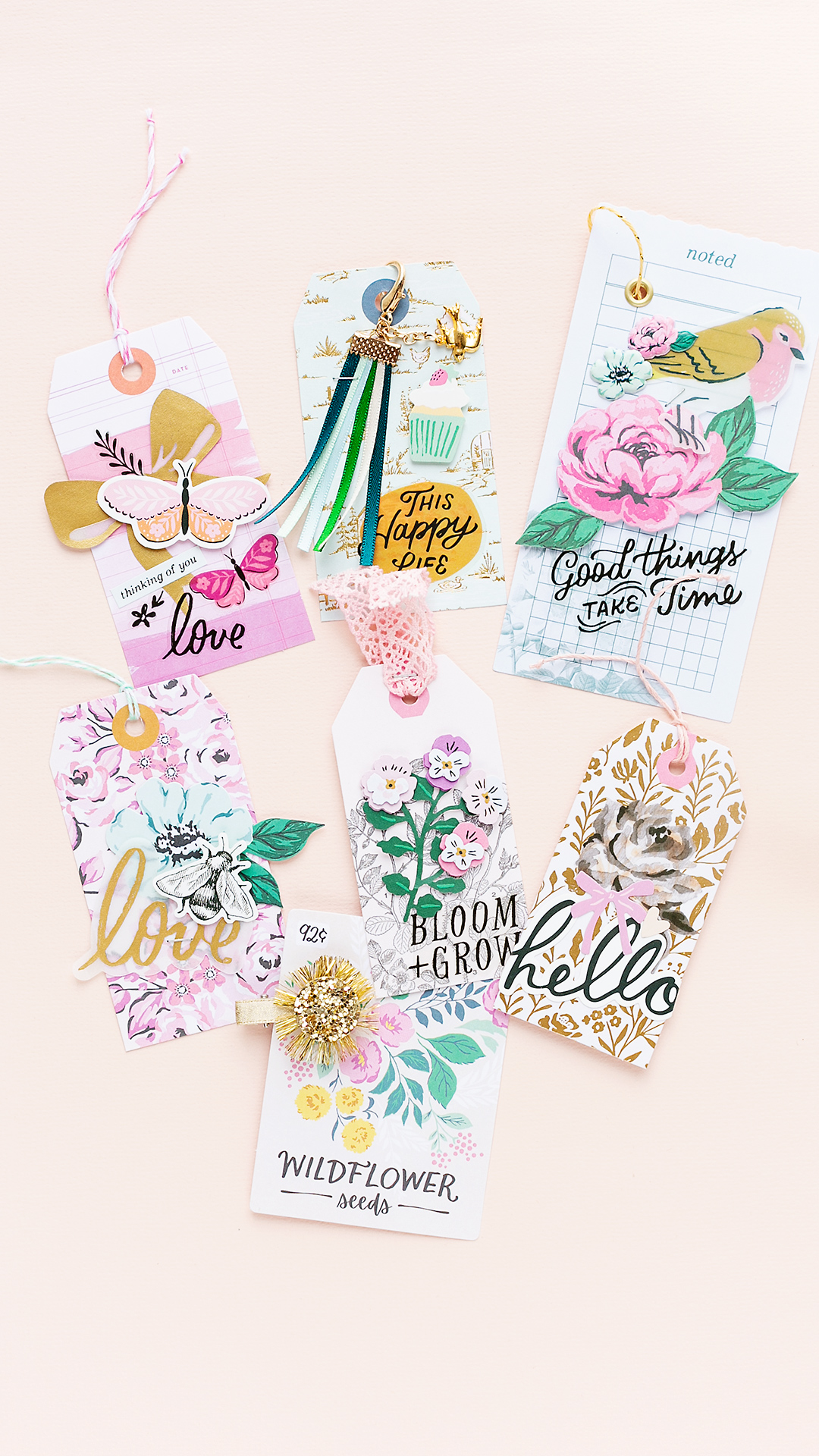 A collection of pretty gift tags with lots of florals, ephemera pieces and embellishments from the scrapbook collection Garden Party by Maggie Holmes