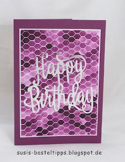 diy Geburtstagskarte brombeere, Happy Birthday verschiedene HIntergrund Variationen mit dem Stampin' Up! Stempel all wired up und Farben, Idee von Stampin' Up! Demonstratorin in Coburg