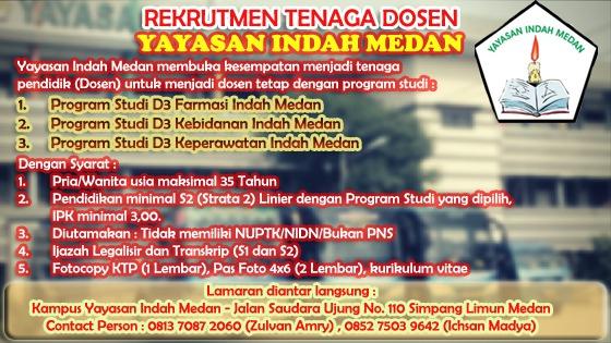 Lowongan Kerja Yayasan Indah Medan Rekrut Tenaga Dosen Detik