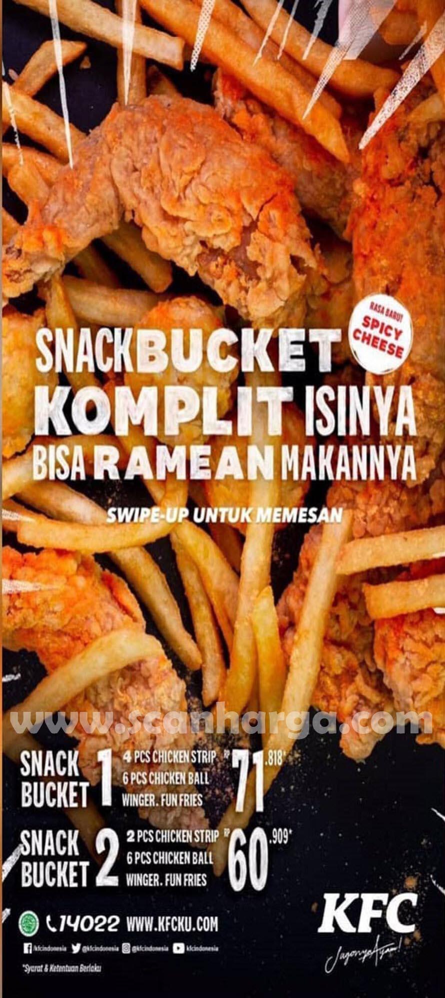 KFC Snack Bucket Rasa Baru - KFC Spicy Cheese harga mulai Rp 60Rb-an*