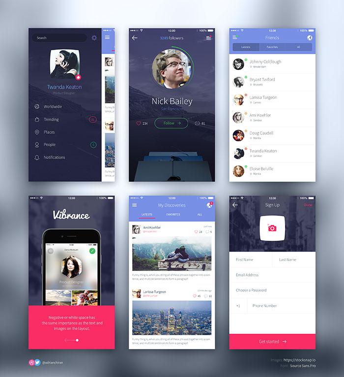 iPhone 6 UI Screens for social app