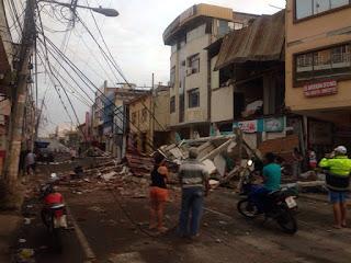 Ecuador earthquake view of Portoviejo after the devastation