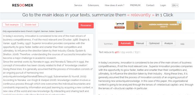 Aplikasi resume otomatis Resoomer