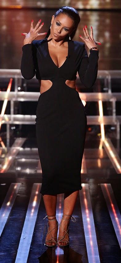 Mel B Jason Wu black cut out dress   X Factor Live Shows Week 3