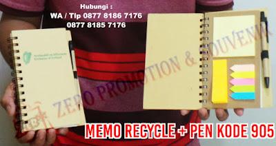 memo ramah lingkungan, memo daur ulang, notes ring daur ulang, agenda daur ulang ramah lingkungan, block note recycle ramah lingkungan, memo recycle + pulpen + post it (Memo 905).