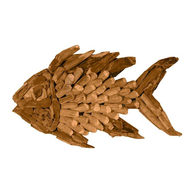 Small Driftwood Angel Fish Wall Decor