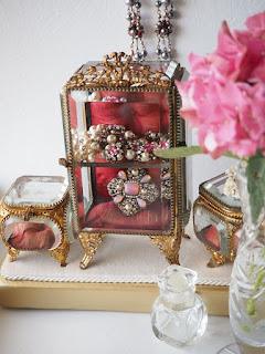 Pink Hydrangea and pink rhinestone jewellery