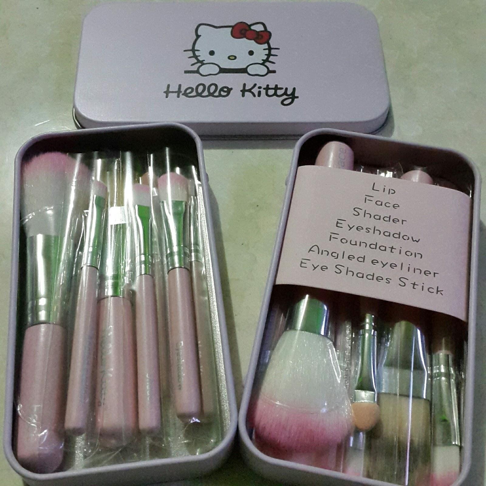 Keykey Shop Kuas Make Up Kaleng Doraemon Hello Kitty