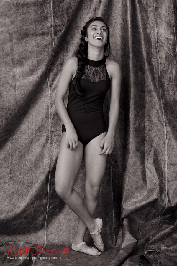 Black and white, Leotard and ballet shoes, studio portfolio shoot, dance, modelling, portrait; by Kent Johnson.