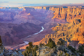 The Grand Canyon - the valley is purple-hued with a river running through it. The walls are yellowish. There are rocks and bushes in the foreground.