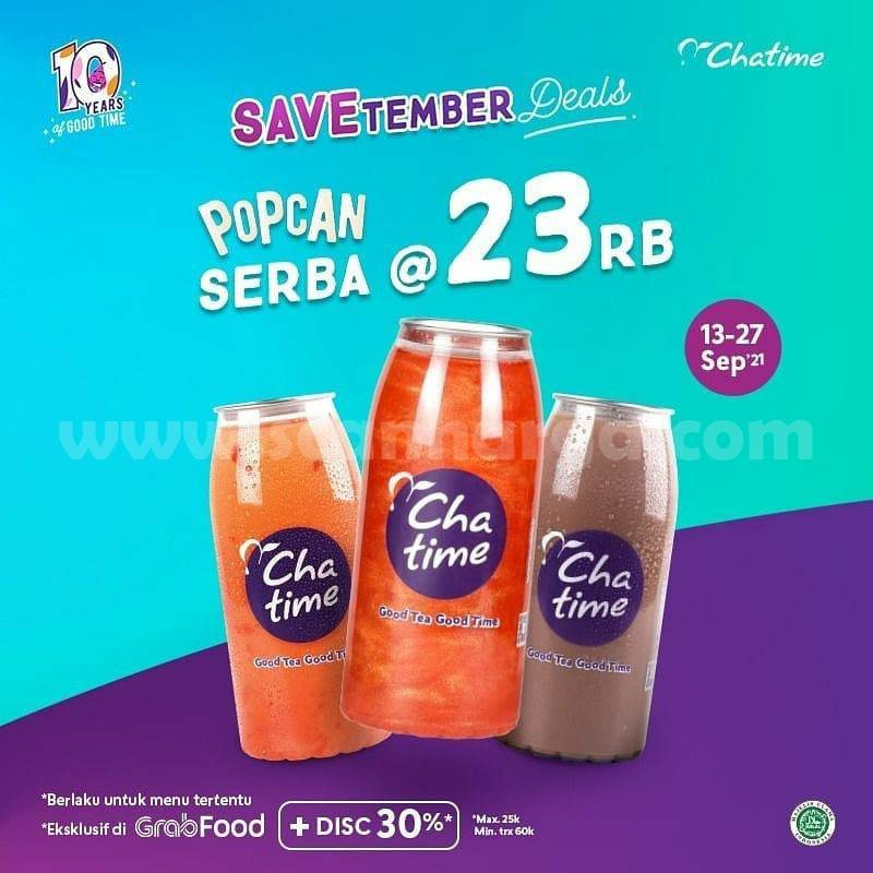 Promo CHATIME SAVETEMBER DEALS –  Harga Spesial POPCAN SERBA 23RIBU