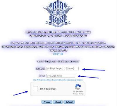 Cek Nomor polisi Jakarta Online