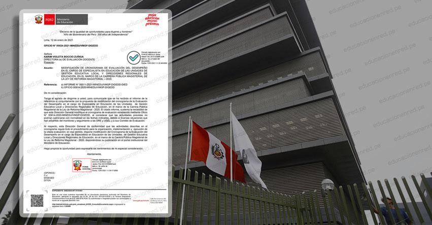OFICIO N° 00024-2021 -MINEDU/VMGP-DIGEDD.- Modifican Cronograma Evaluación del Desempeño de Especialistas en Educación de UGEL y DRE 2020