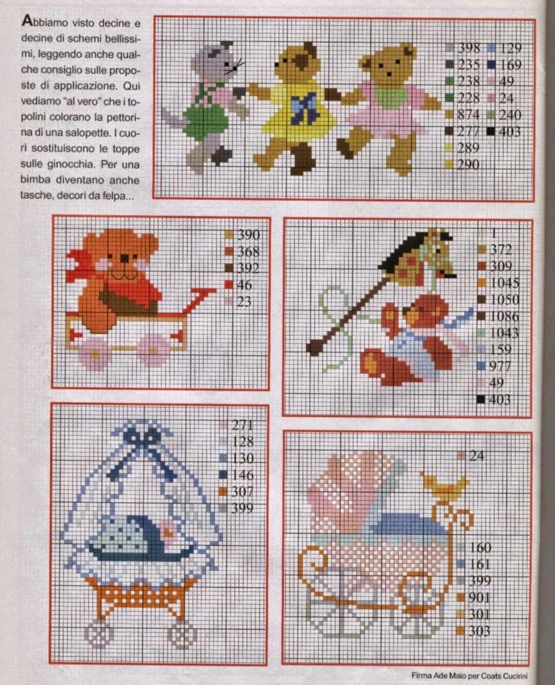 Schemi a punto croce per corredini,culle, abitini con motivi e disegni free per ricamo cross stich