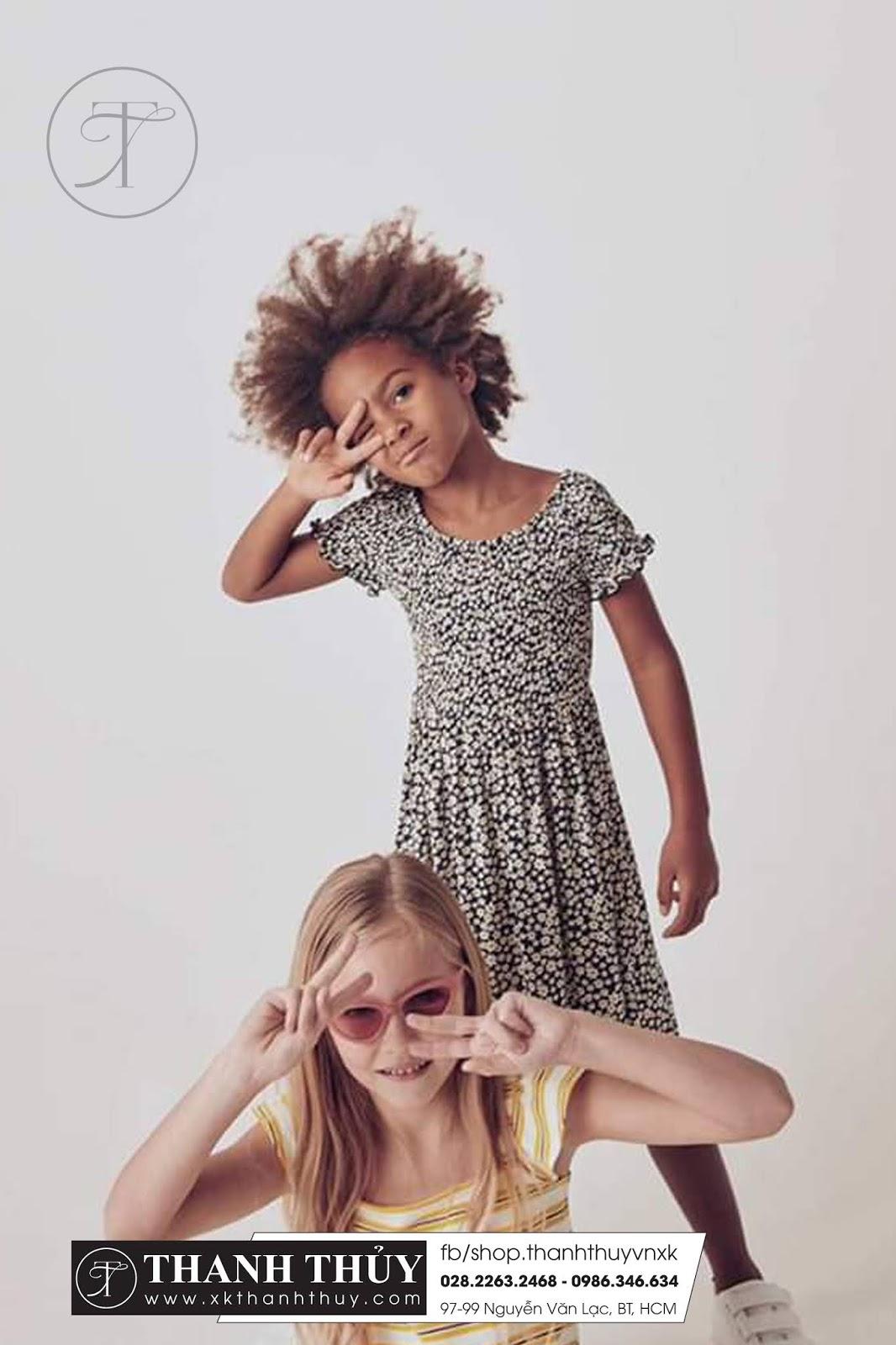 Đầm thun thời trang cá tính cho các bé 4-10 tuổi