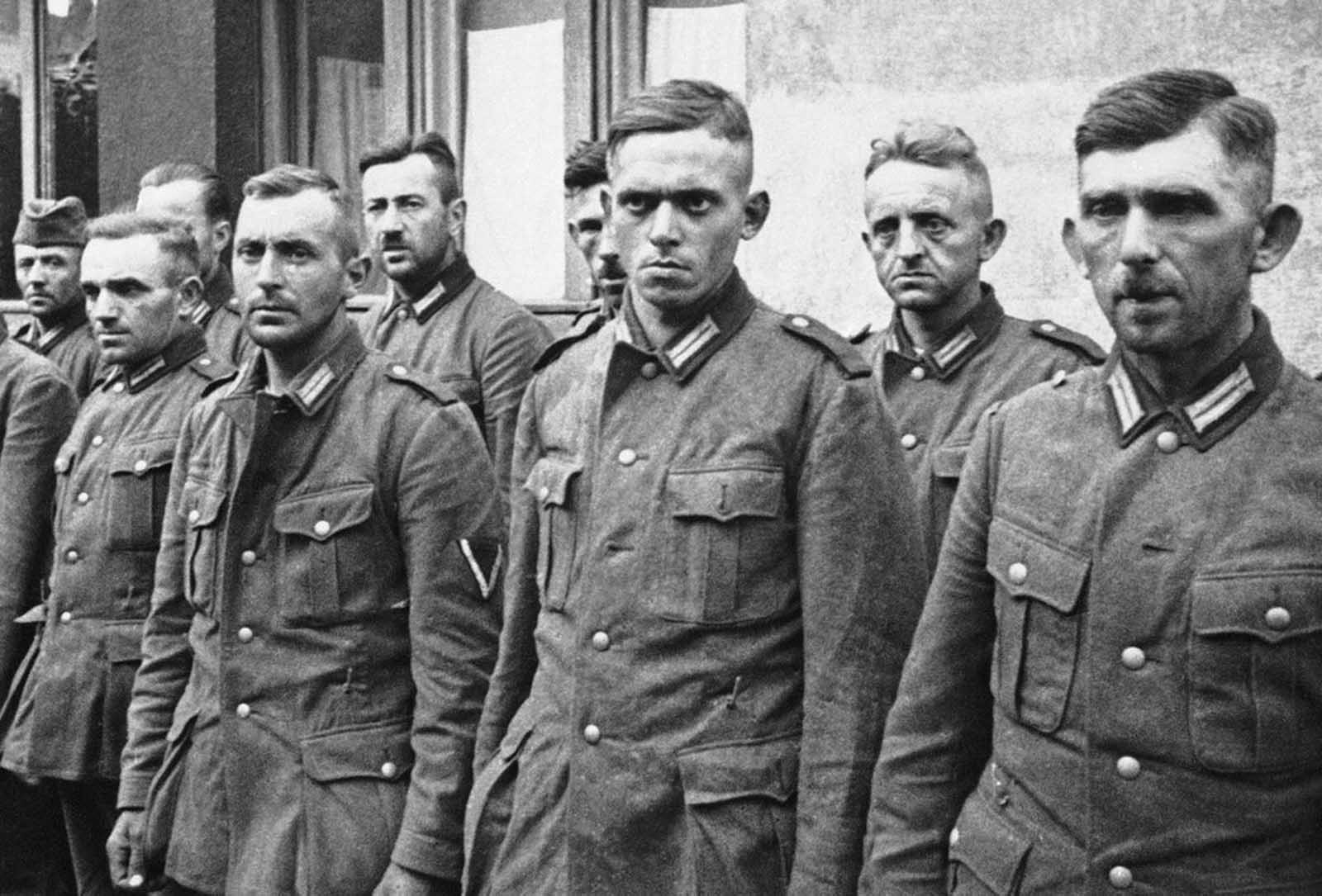 German soldiers, taken prisoner by the Polish army during the Nazi invasion, are shown while they were held captive in Warsaw, on October 2, 1939.