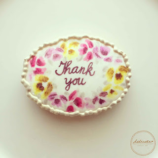 thank you cookies painted with rose in natural food colouring