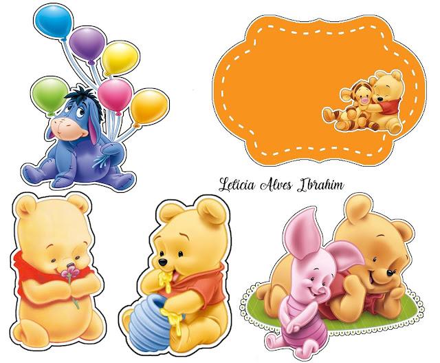Winnie the Pooh Bebé: Toppers para Tartas, Bizcochos o Pasteles para Imprimir Gratis.