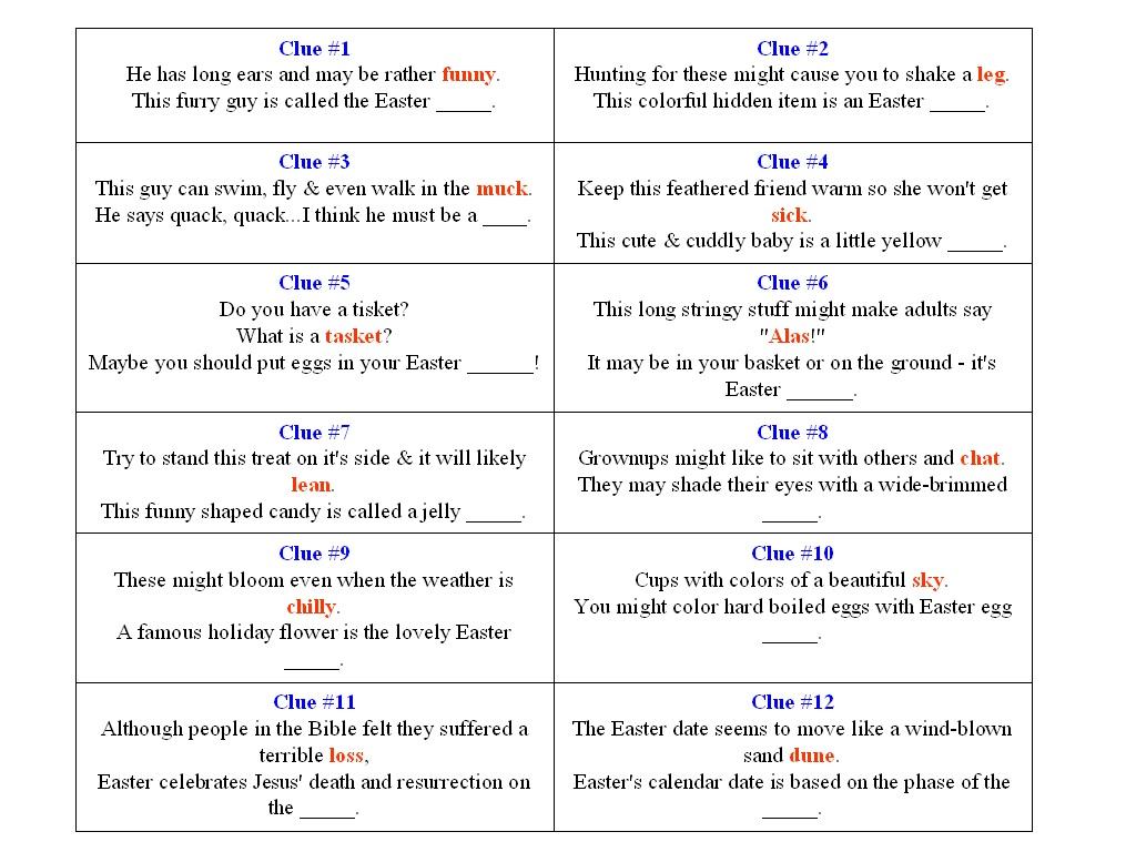Clues For Easter Rhyming Scavenger Hunt 1 024 768 Pixels