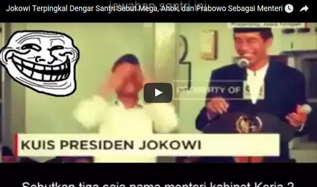 VIDEO : Jokowi Terpingkal Dengar Santri Sebut Mega, Ahok, dan Prabowo Sebagai Menteri