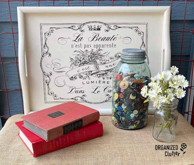 Photo of an upcycled wood tray with Dixie Belle Paint & Spring Flowers Decor Transfer