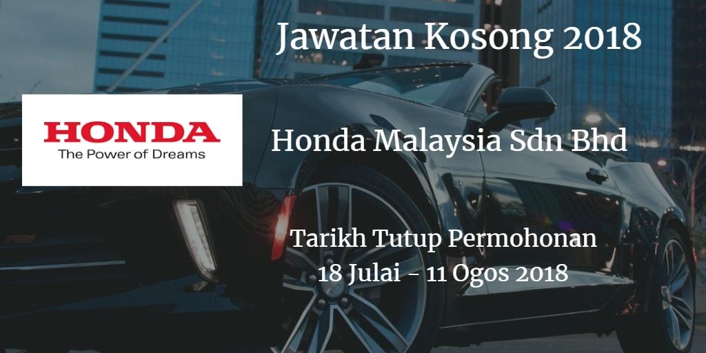 Jawatan Kosong Honda Malaysia Sdn Bhd  18 Julai - 11 Ogos 2018