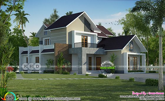 Mixed roof 4 bedroom house front elevation with side view