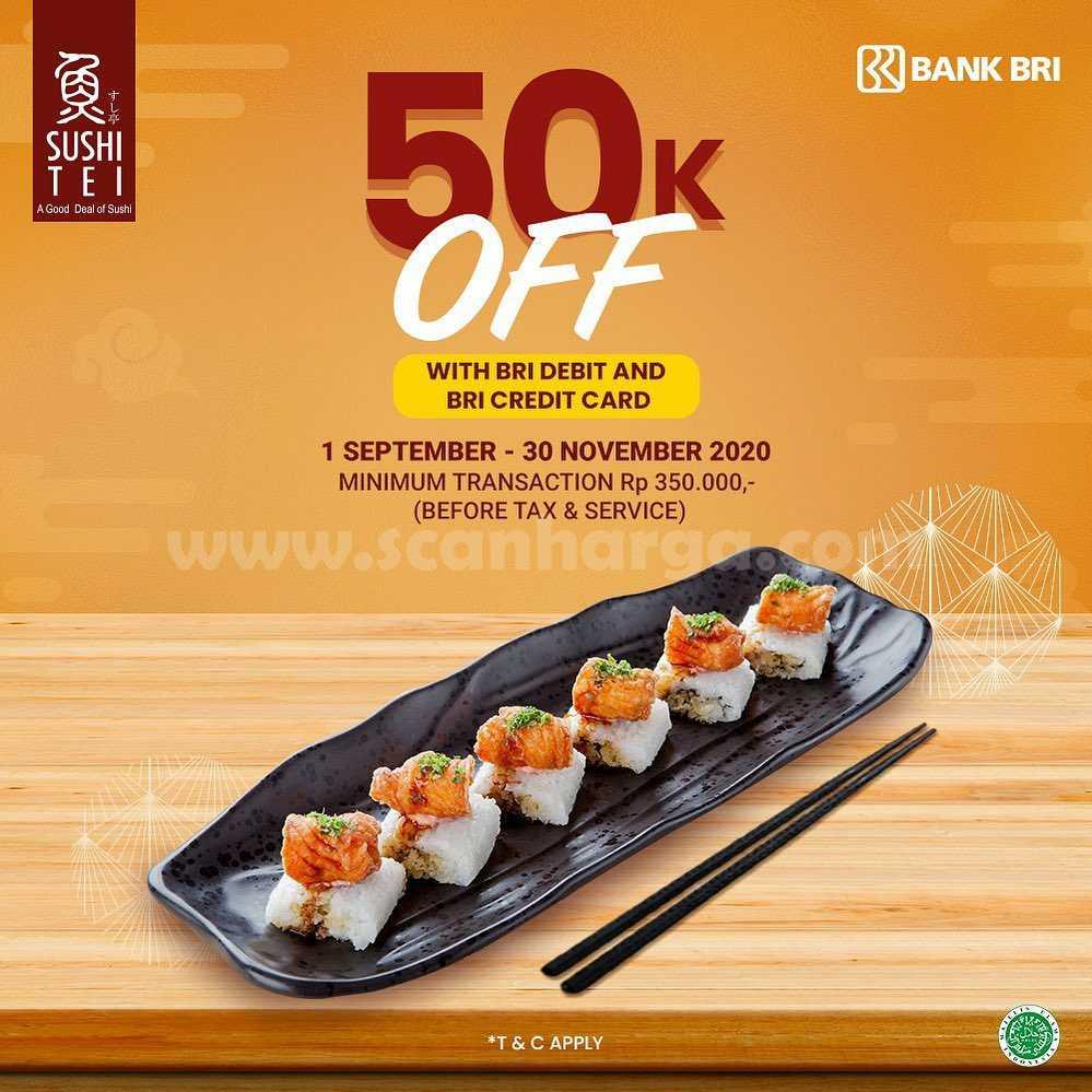 Sushi Tei Promo Diskon Rp 50.000 dengan Debit & Kartu Kredit BRI