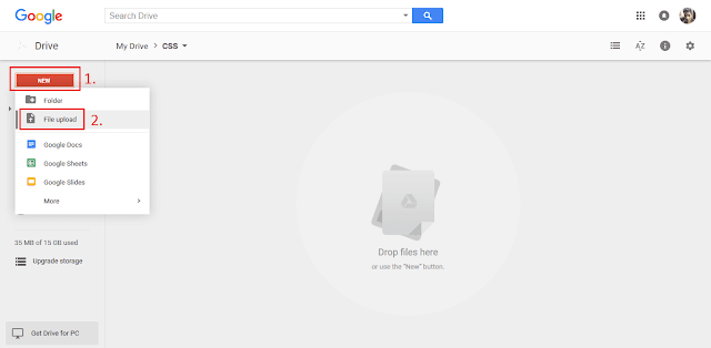 How to upload file in google drive