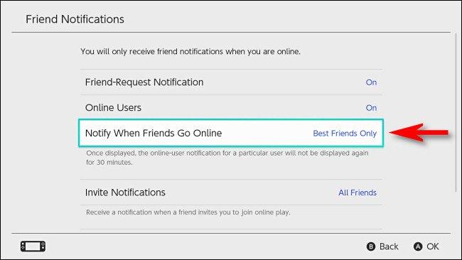 """في تبديل إعدادات المستخدم ، اضبط """"الإعلام عندما يتصل الأصدقاء بالإنترنت"""" على """"أفضل الأصدقاء فقط""""."""