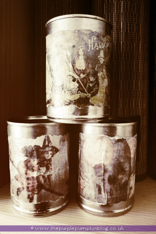 Cans with Vintage Halloween Labels {Halloween Craft} at The Purple Pumpkin Blog