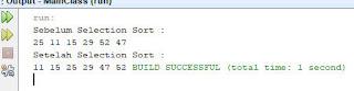 output selection sort java