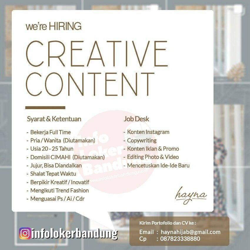 Lowongan Kerja Creative Content Hayna Hijab Bandung Februari 2020