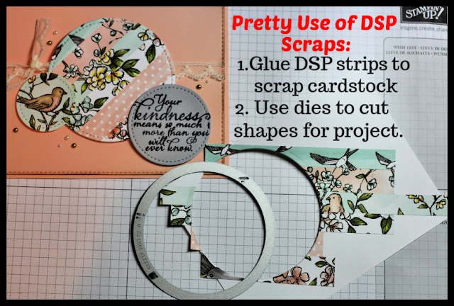 Glue Stampin' Up! Bird Ballad DSP strips to scrap cardstock then use Stitched Shapes Dies to die-cut