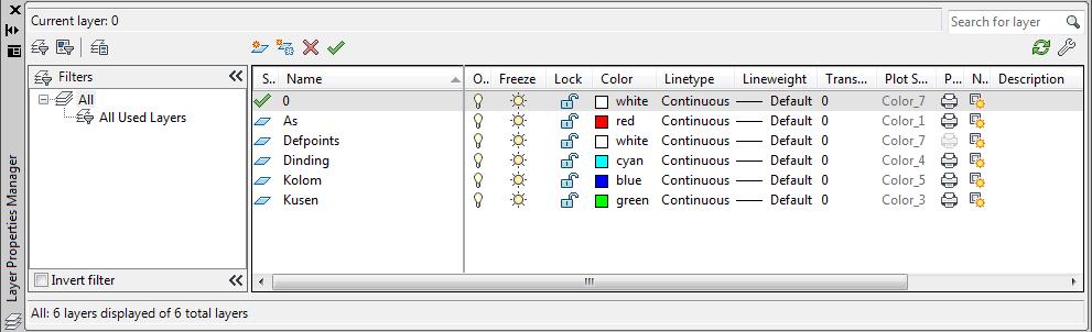 pengaturan layer autocad