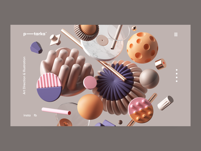 example of 3D elements used for web design