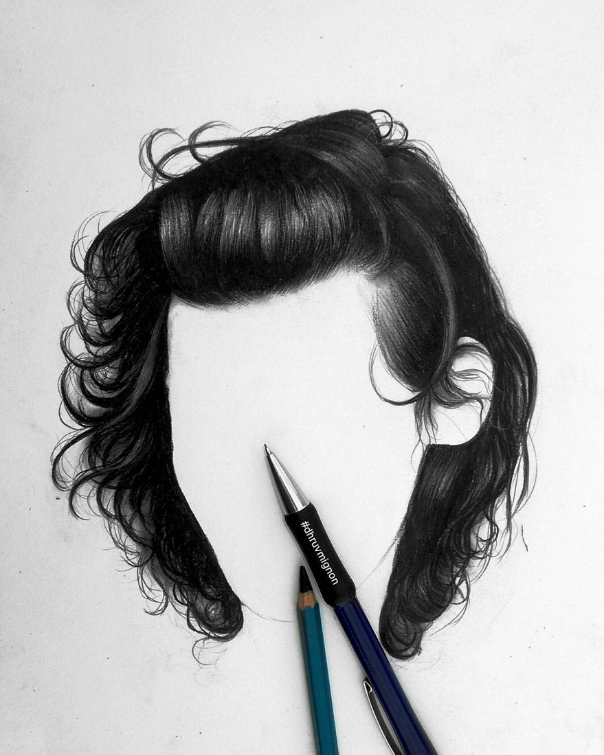 07-dhruvmignon-Minimalist-Realistic-Hair-Study-Drawings-www-designstack-co
