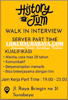 Walk In Interview at History Jum Surabaya Agustus 2020