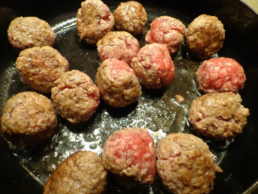 sauté meatballs in olive oil