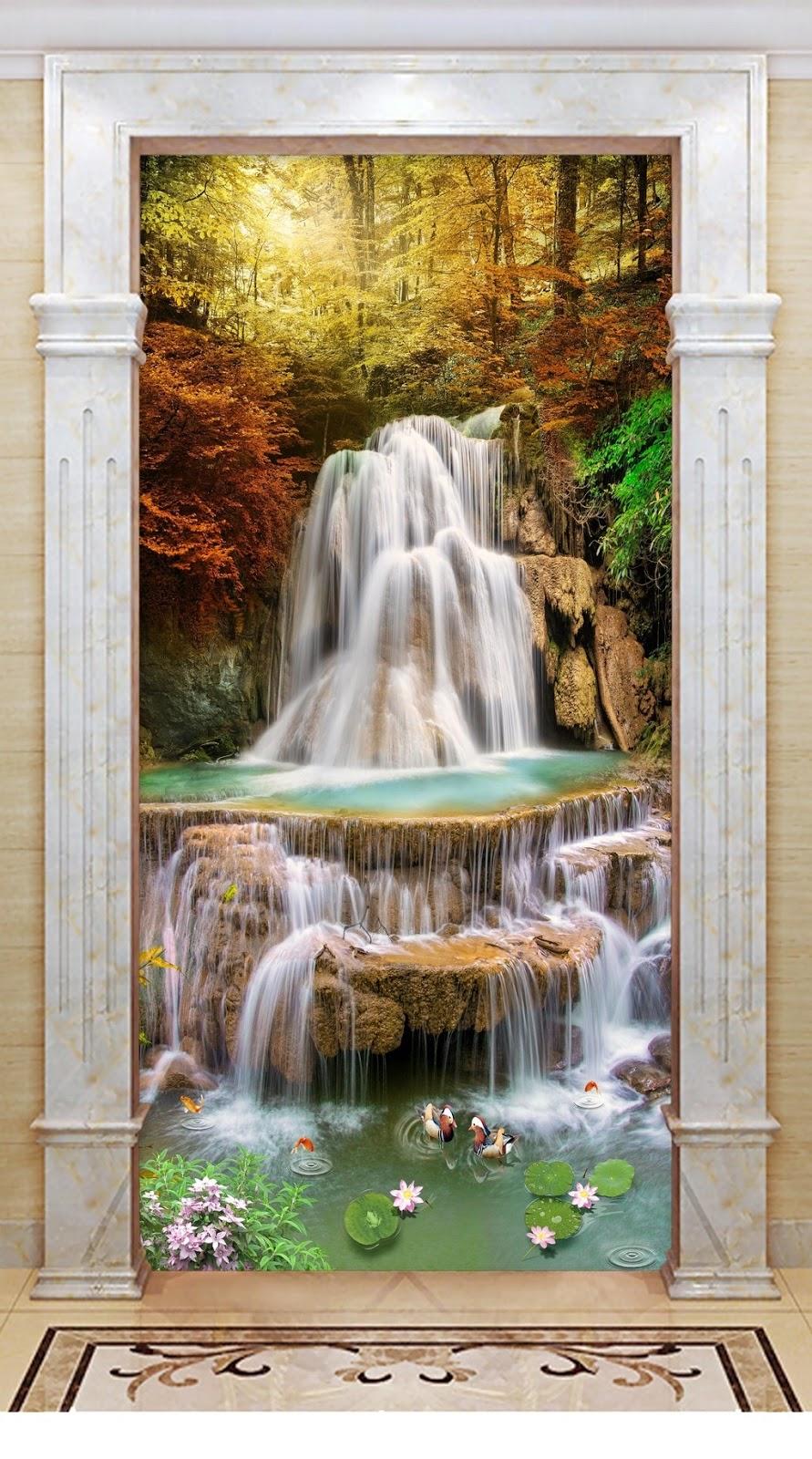 Tranh 3d khổ dọc phong cảnh rừng cây thác nước