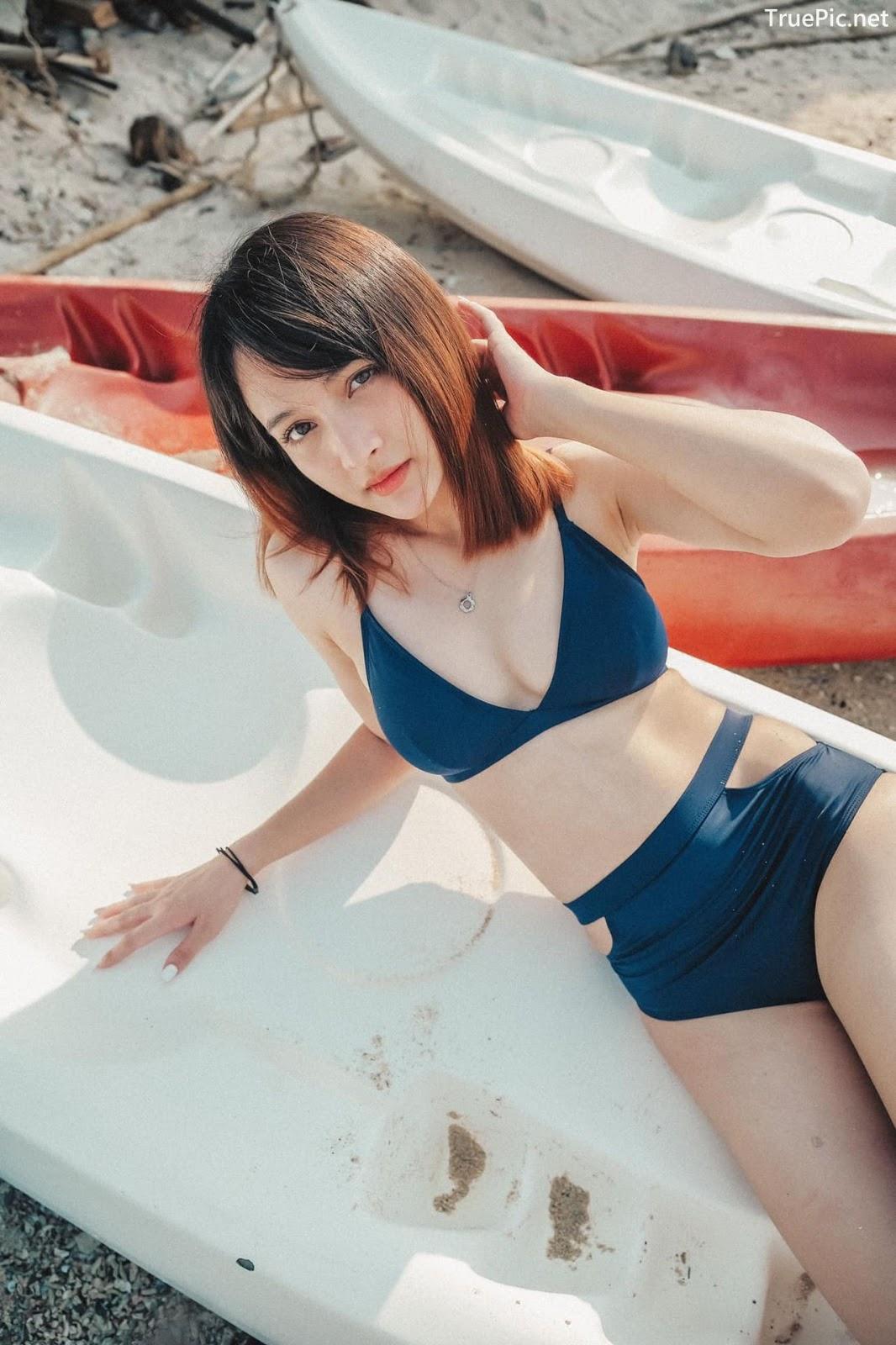 Image Thailand Model - Catherina Nybraaten - Dark Blue Bikini - TruePic.net - Picture-2