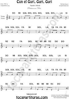Partitura con Notas de la Canción Popular Con el Guri Guri Guri Sheet Music for Music Scores