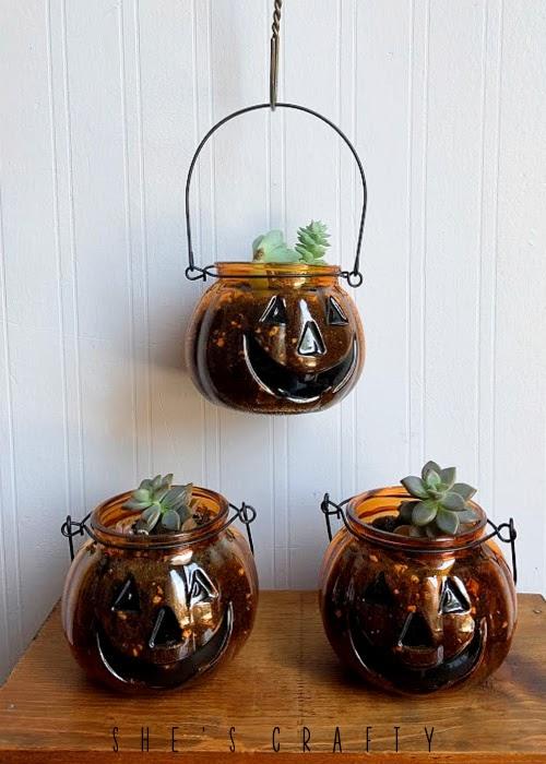 Halloween Jack o'lantern succulent planter