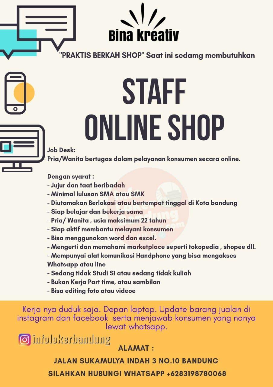 Lowongan Kerja Staff Online Shop Bina Kreativ Bandung Januari 2021