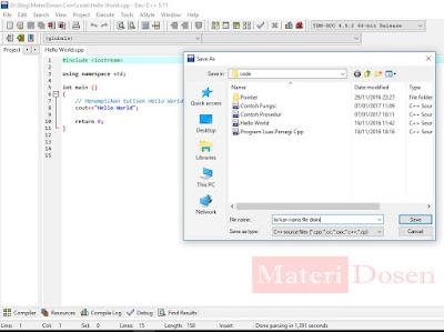 Isi File Name / Nama File sesuai keinginan sobat dan pastikan Save as type nya C++ Source File